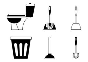 Toilet icon. Restroom. WC, bathroom in outline. Toilet brush, plunger and trash can. Plumbing service. Equipment in cleaning bathroom. Empty garbage can. Vector signs