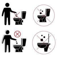 no tire basura en el inodoro. inodoro sin basura. mantener la limpieza. Por favor, no tire toallas de papel, productos sanitarios ni iconos. icono prohibido. no tirar basura, símbolo de advertencia. información pública vector