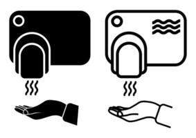 toque menos secador de manos. lavarse las manos concepto de seguridad. maquina automatica con sensor. Secadores de manos de pared. secarse las manos de forma segura. estilo plano, imágenes prediseñadas. ilustración vectorial vector