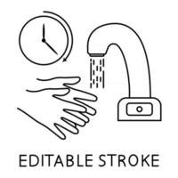 Wash your hands during 30 seconds minimum under running water. Hand washing under touch less faucet with timer. Wash your hands, icon. Editable stroke. Everyday hygiene essentials. Vector