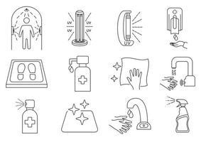 iconos de línea de desinfección. superficie de limpieza y desinfectante, botella rociadora, gel de lavado para manos, lámpara uv, tapete desinfectante, grifo y dispensador sin contacto, túnel de desinfección. trazo editable. vector