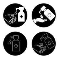 estación de desinfectante de manos. botella de jabón líquido con gotas de agua. lava tus manos. aplicando un desinfectante humectante. icono de procedimiento de higiene. superficie estéril. dispensador. gel alcohólico antiséptico vector