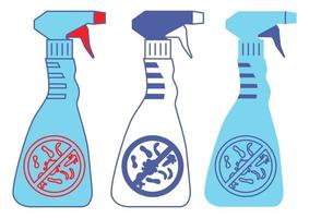 Bottles with prohibition bacterium sign. Household chemical bottles. Disinfection sprays in blue color. Disinfectant containers with antibacterial liquid. Washing or alcohol spray. Vector