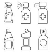 Botellas de productos químicos domésticos. detergente líquido o jabón, quitamanchas, limpiador de baño o inodoro. spray desinfectante. Recipiente desinfectante con bomba dosificadora. recipientes de desinfectante de manos vector
