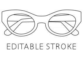 Black glasses rim. Sunglasses icon in outline style. Modern style glasses rim silhouette. Stylish male and female optical accessories. Editable stroke. Vector