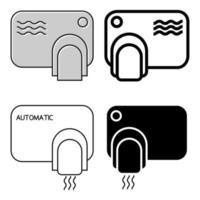 toque menos secador de manos. lavarse las manos concepto de seguridad. maquina automatica con sensor. Juego de secadores de manos de pared. icono de contorno. glifo. ilustración vectorial aislado vector