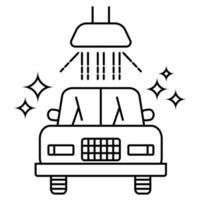 Carwash icon. Sanitizing station or service. Sanitation of vehicle. Cleaning and washing vehicle. Outline icon of car. Vector illustration