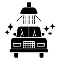 Carwash icon. Sanitizing station or service. Sanitation of vehicle. Cleaning and washing vehicle. Glyph icon of car. Vector illustration