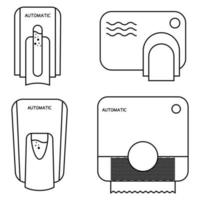 Automated contactless restroom equipment with sensors. Paper towel dispenser. Wall mounted automatic soap dispenser, hand dryer with sensor. Drying hands safely. Editable stroke. Vector