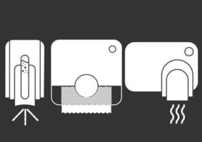 Automated contactless restroom equipment with sensors. Paper towel dispenser. Wall mounted automatic soap dispenser, hand dryer with sensor. Drying hands safely. Glyph icon. Vector