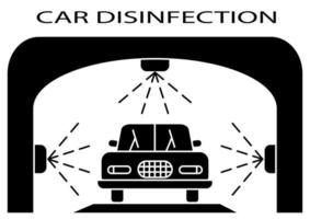 Disinfection tunnel. Sanitizing station or services. Sanitation tunnel for vehicle. Clean surfaces in a car with a disinfectant spray. Cleaning and washing vehicle. Carwash icon.Vector vector
