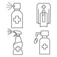Conjunto de iconos de contenedor de desinfectante de manos. gel de alcohol de lavado. Limpiador de manos sin agua. lavarse las manos. Dispensador de jabón automático sin contacto. desinfectante. Dispensador de jabón sin contacto. vector