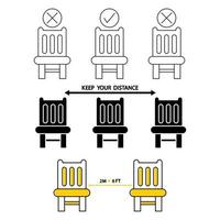 Do not sit here. Forbidden seating, icon. Signage for restaurants and public places. Social distancing, physical distancing sitting in a public chair, outline icon. Keep your distance. Vector