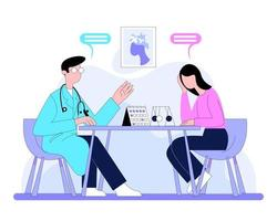 Upset patient visiting doctor in doctor office illustration concept vector