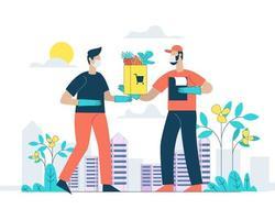 Vegetable home delivery vector illustration concept