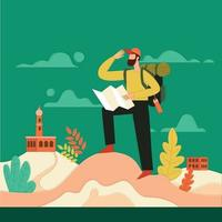 Travelers traveling while following the location vector illustration concept