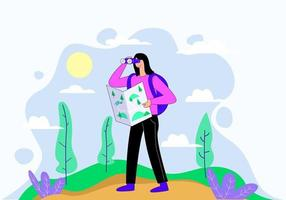 Traveler traveling following the map illustration concept vector