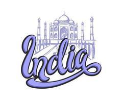 viaje. diseño para la industria del turismo. en un viaje a la india. la ciudad de agra. letras. boceto del taj mahal. ilustración vectorial. vector