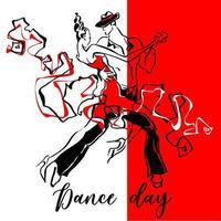 Dance day. Dancing couple. Graphics. Vector. vector