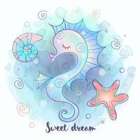 Cute seahorse sleeping sweetly. Sea world. Vector