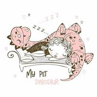 Cute girl sleeping with her pet dinosaur. Cheerful picture. Vector