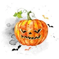 Festive watercolor card for Halloween with a pumpkin. Vector