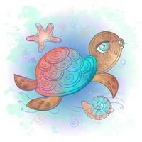 Cute sea turtle. Sea world. Watercolor. Vector. vector