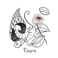 Zodiac sign Cancer. Crustacean with a flower vector