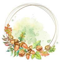 marco de oro redondo con nueces y bellotas. acuarela. vector