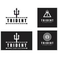 Tombak Trident Vintage dari Poseidon Neptune God Triton King desain logo vector