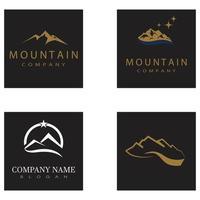 Simple Modern Mountain Landscape Logo Design Vector, Rocky Ice Top Mount Peak Silhouette vector