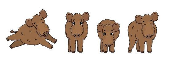 Set of brown vector outline cute cartoon boar in different poses. Fluffy animal stands, runs, is happy, is angry and ready to attack. Front side view. Doodle isolated illustration on white background