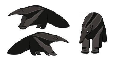 conjunto de tres dibujos animados lindo contorno hermoso marrón aislado hormigueros o osos hormigueros. Los animales vectoriales se paran o van a algún lugar, vista frontal y lateral. dibujado a mano ilustración de doodle sobre fondo blanco vector