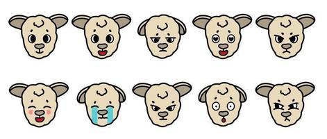 conjunto de animales de oveja de bozal aislado de granja de vector con diferente emoción. feliz, triste, llanto, enojado, molesto, enamorado, fascinado, confundido, furioso, lindo, caricatura, divertido, corderito, carita de bebé