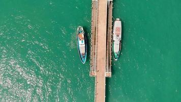 Flight over the coastline of the sea Aerial shot video