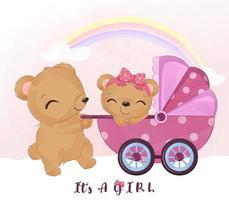 linda mamá y osito con cochecito de bebé vector