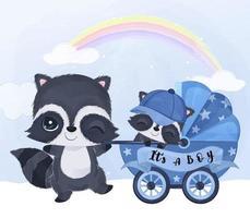 lindo mapache mamá y bebé con cochecito de bebé vector