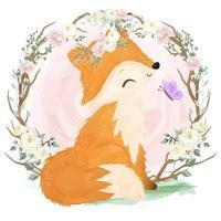 Adorable fox illustration in watercolor vector