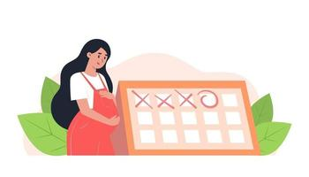 Happy pregnant woman stands near the calendar, planned appointment with an obstetrician-gynecologist vector