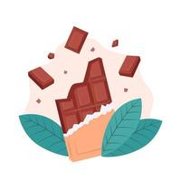 Chocolate bar and cocoa bean leaves vector