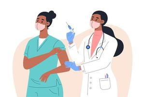 Female doctor in mask and gloves giving a vaccine to a nurse vector