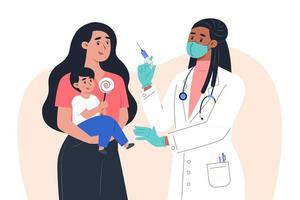 A female doctor in a mask and gloves makes a vaccine to a a child patient vector