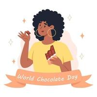 World chocolate day, a young woman eating a bar of chocolate vector