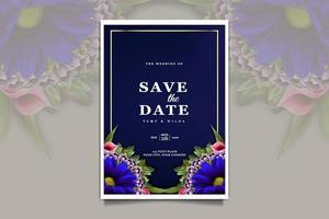 elegant save the date  wedding invitation card set vector