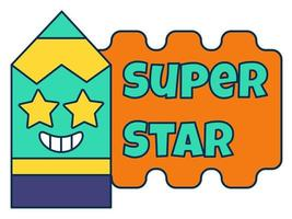 Super star teacher reward sticker, school award vector