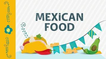 Ilustración de comida mexicana para decoración de estilo plano nombre de letras taco tortilla se encuentra junto a pimienta y banderas vector