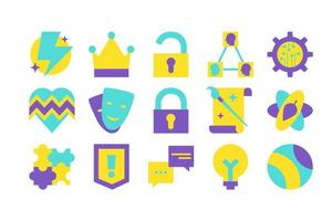 Personalities and archetypes flat vector icons set