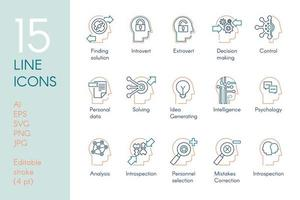 Mental activity color linear icons set vector
