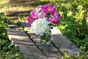 Un ramo de grandes peonías blancas y rosas en un frasco de vidrio sobre un puente de madera foto