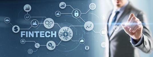 Fintech Investment Financial Technology Concept. 3D Virtual screen photo
